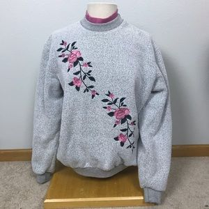 Vintage 80s floral grandma sweater turtleneck